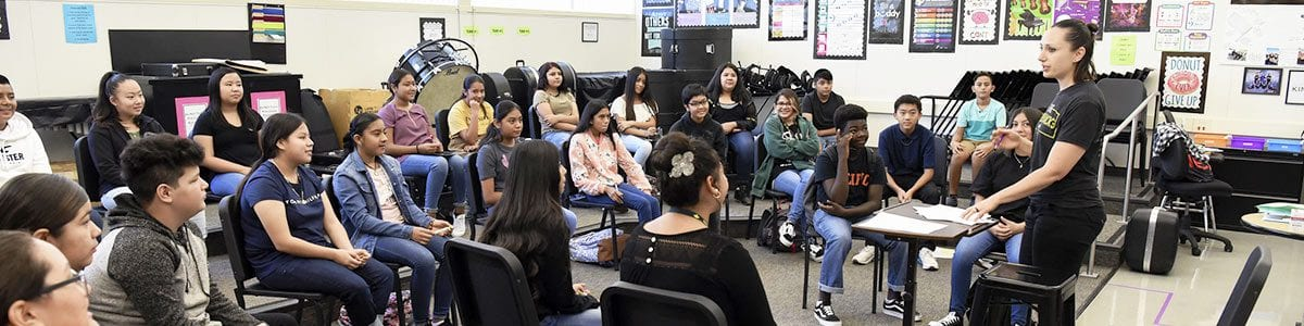 A large group of Fresno Unified students sitting in a classroom